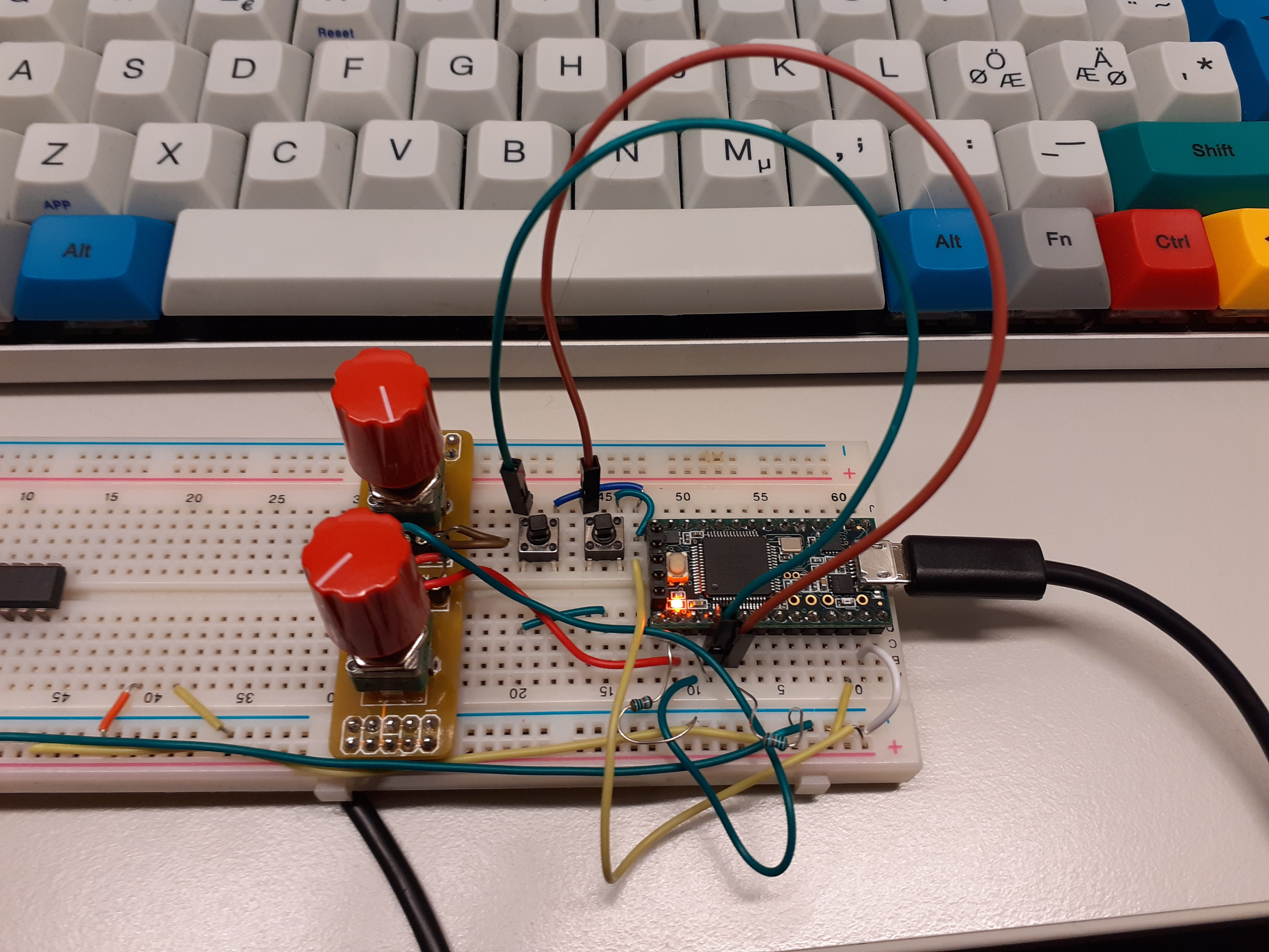 Teensy on a breadboard